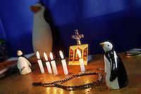 SCH08. BUIN (CHILE), 17/08/2011.- Pingüinos de porcelana, símbolos de la lucha estudiantil chilena, son vistos hoy, miércoles 17 de agosto de 2011, en el aula donde 5 estudiantes mantienen una huelga de hambre desde hace más de 30 días en demanda de una educación pública, gratuita y de calidad en el liceo A131 de Buin (Chile). EFE/Felipe Trueba
