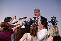 Roma, 18 Maggio 2015.<br /> Il Ministro Giuliano Poletti con i giornalisti.<br /> Conferenza stampa a Palazzo Chigi al termine del Consiglio dei Ministri sul decreto per i rimborsi delle pensioni.