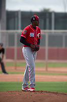 Cincinnati Reds relief pitcher Moises Nova (88) during a Minor League Spring Training game against the Los Angeles Angels at the Cincinnati Reds Training Complex on March 15, 2018 in Goodyear, Arizona. (Zachary Lucy/Four Seam Images)