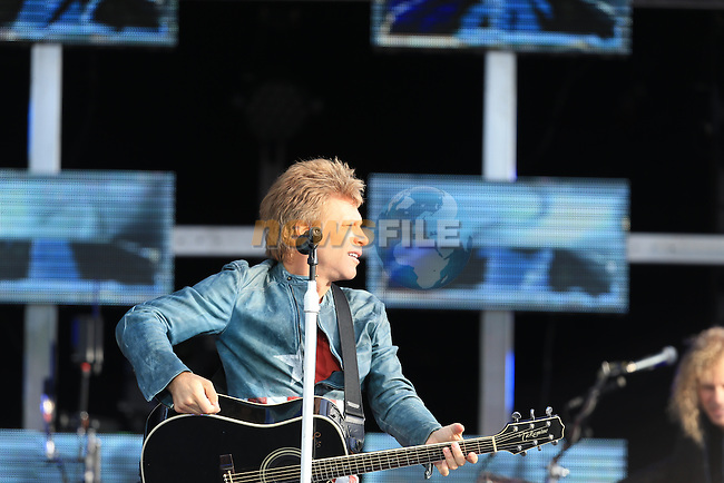 Slane 2013 Bon Jovi Concert, Jon Bon Jovi on stage.<br /> <br /> Picture:  Fran Caffrey / www.newsfile.ie