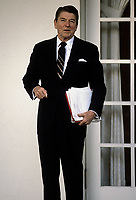 Washington DC., USA, January 30, 1984<br /> President Ronald Reagan talks with reporters in the rose garden. Credit: Mark Reinstein/MediaPunch