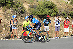 Richard Carapaz (ECU) Movistar Team on the slopes of Sierra de la Alfaguara near the finish of Stage 4 of the La Vuelta 2018, running 162km from Velez-Malaga to Alfacar, Sierra de la Alfaguara, Andalucia, Spain. 28th August 2018.<br /> Picture: Eoin Clarke   Cyclefile<br /> <br /> <br /> All photos usage must carry mandatory copyright credit (&copy; Cyclefile   Eoin Clarke)