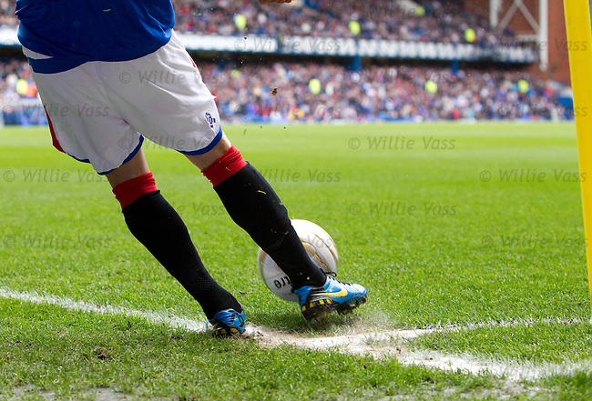 "Nacho Novo places the ball outside the ""D"" for his corner kick for a laugh"