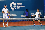 Yosuke Watanuki &  Yuya Ito (JPN) , <br /> AUGUST 23, 2018 - Tennis : <br /> Men's Doubles Semi-Final<br /> at Jakabaring Sport Center Tennis Court <br /> during the 2018 Jakarta Palembang Asian Games <br /> in Palembang, Indonesia. <br /> (Photo by Yohei Osada/AFLO SPORT)