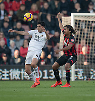 Wolverhampton Wanderers' Raul Jimenez (left) under pressure from Bournemouth's Nathan Ake (right) <br /> <br /> Photographer David Horton/CameraSport<br /> <br /> The Premier League - Bournemouth v Wolverhampton Wanderers - Saturday 23 February 2019 - Vitality Stadium - Bournemouth<br /> <br /> World Copyright © 2019 CameraSport. All rights reserved. 43 Linden Ave. Countesthorpe. Leicester. England. LE8 5PG - Tel: +44 (0) 116 277 4147 - admin@camerasport.com - www.camerasport.com