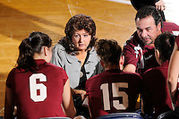20 November 2008:  UALR Volleyball Head Coach Van Compton (left) and Assistant Cach Todd Bourdo (right) speak with their players during a time out in the New Orleans 3-1 victory over UALR in the first round of the Sun Belt Conference Championship tournament at FIU Stadium in Miami, Florida.