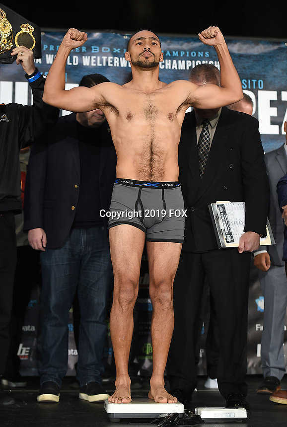 BROOKLYN - JANUARY 25: Boxer Keith Thurman at the weigh-in for the January 26 PBC on FOX fight card at Barclays Arena on January 25, 2019, in Brooklyn, New York. (Photo by Frank Micelotta/Fox Sports/PictureGroup)