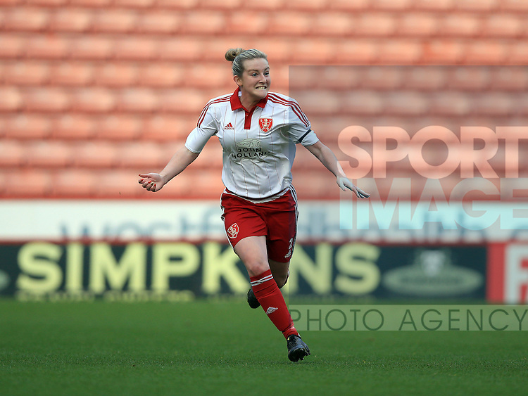 Sheffield United Ladies' Kimberley Brown celebrates after she scores her sides first goal during the FA Women's Cup First Round match at Bramall Lane Stadium, Sheffield. Picture date: December 4th, 2016. Pic Clint Hughes/Sportimage