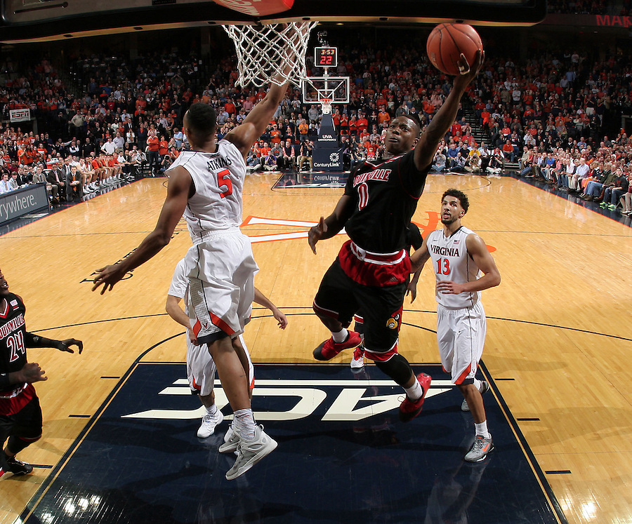 Louisville guard Terry Rozier (0) during the game Saturday Feb. 7, 2015, in Charlottesville, Va. Virginia defeated Louisville  52-47. (Photo/Andrew Shurtleff)