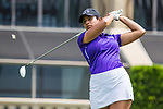 HOWEY IN THE HILLS, FL - MAY 11: Navika Kuchakulla of New York University tees of during team competition at the Division III Women's Golf Championship. Kuchakulla would go on to finish second place overall in Individual play with a score of +14 over par. The Claremont Mudd Scripps won both the team and individual (Margaret Loncki) First Place Championships during the Division III Women's Golf Championship held at the Mission Inn Resort & Club on May 11, 2018 in Howey-In-The-Hills, Florida. (Photo by Matt Marriott/NCAA Photos via Getty Images)