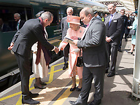 13 June 2017 - Queen Elizabeth II meets Mr Isambard Thomas Great Great Great Grandson of Isambard Kingdom Brunel and Ms Gillian White the Great Great Granddaughter of Sir Daneil Gooch at London Paddington Station, marking the 175th anniversary of the first train journey by a British monarch. The Queen and The Duke of Edinburgh traveling from Slough to London Paddington on a Great Western Railway train, recreating the historic journey made by Queen Victoria on 13th June 1842. Photo Credit: ALPR/AdMedia