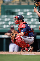 GCL Twins catcher Austin Hale (70) awaits the pitch in front of home plate umpire Kenny Jackson during the first game of a doubleheader against the GCL Orioles on August 1, 2018 at CenturyLink Sports Complex Fields in Fort Myers, Florida.  GCL Twins defeated GCL Orioles 7-6 in the completion of a suspended game originally started on July 31st, 2018.  (Mike Janes/Four Seam Images)