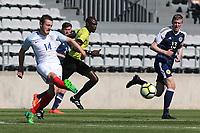 Elliott Embleton of England passes the ball upfield during England Under-18 vs Scotland Under-20, Toulon Tournament Semi-Final Football at Stade Parsemain on 8th June 2017