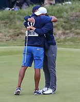 Hugged by caddie Michael Greiler, Jordan Spieth (USA) wins Sunday's Final Round at The 146th Open played at Royal Birkdale, Southport, England.  23/07/2017. Picture: David Lloyd | Golffile.<br /> <br /> Images must display mandatory copyright credit - (Copyright: David Lloyd | Golffile).