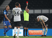 Derby County's Mike te Wierik is sent of by Ref Andy Davies<br /> <br /> Photographer Mick Walker/CameraSport<br /> <br /> Carabao Cup Second Round Northern Section - Derby County v Preston North End - Tuesday 15th September 2020 - Pride Park Stadium - Derby<br />  <br /> World Copyright © 2020 CameraSport. All rights reserved. 43 Linden Ave. Countesthorpe. Leicester. England. LE8 5PG - Tel: +44 (0) 116 277 4147 - admin@camerasport.com - www.camerasport.com
