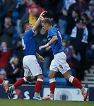 Dean Shiels celebrates with Ian Black