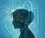 Concept image of a young woman's profile over a circuit board depicting technology and women
