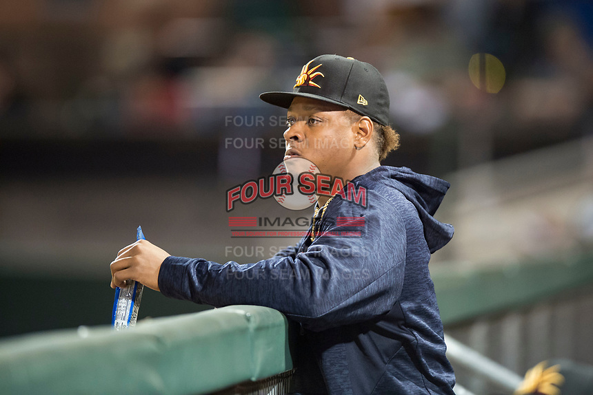 Mesa Solar Sox starting pitcher Gregory Soto (65), of the Detroit Tigers organization, in the dugout during an Arizona Fall League game against the Scottsdale Scorpions on October 9, 2018 at Scottsdale Stadium in Scottsdale, Arizona. The Solar Sox defeated the Scorpions 4-3. (Zachary Lucy/Four Seam Images)