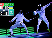 BOGOTA – COLOMBIA – 28 – 05 – 2017: Marco Fichera (Izq.) de Italia, combate con Bogdam Nikishin (Der.) de Ucrania, durante la Final de Varones Mayores Epee del Gran Prix de Espada Bogota 2017, que se realiza en el Centro de Alto Rendimiento en Altura, del 26 al 28 de mayo del presente año en la ciudad de Bogota.  / Marco Fichera (L) from Italy, fights with Bogdam Nikishin (R) from Ukraine, during the Final Senior Men´s Epee of the Grand Prix of Espada Bogota 2017, that takes place in the Center of High Performance in Height, from the 26 to the 28 of May of the present year in The city of Bogota.  / Photo: VizzorImage / Luis Ramirez / Staff.