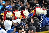 BOGOTÁ-COLOMBIA, 07–04-2019: Hinchas de Millonarios durante partido de la fecha 14 entre Millonarios y Cúcuta Deportivo, por la Liga Águila I 2019, jugado en el estadio Nemesio Camacho El Campín de la ciudad de Bogotá. / Fans of Millonarios during a match of the 14th date between Millonarios and Cucuta Deportivo, for the Aguila Leguaje I 2019 played at the Nemesio Camacho El Campin Stadium in Bogota city, Photo: VizzorImage / Luis Ramírez / Staff.