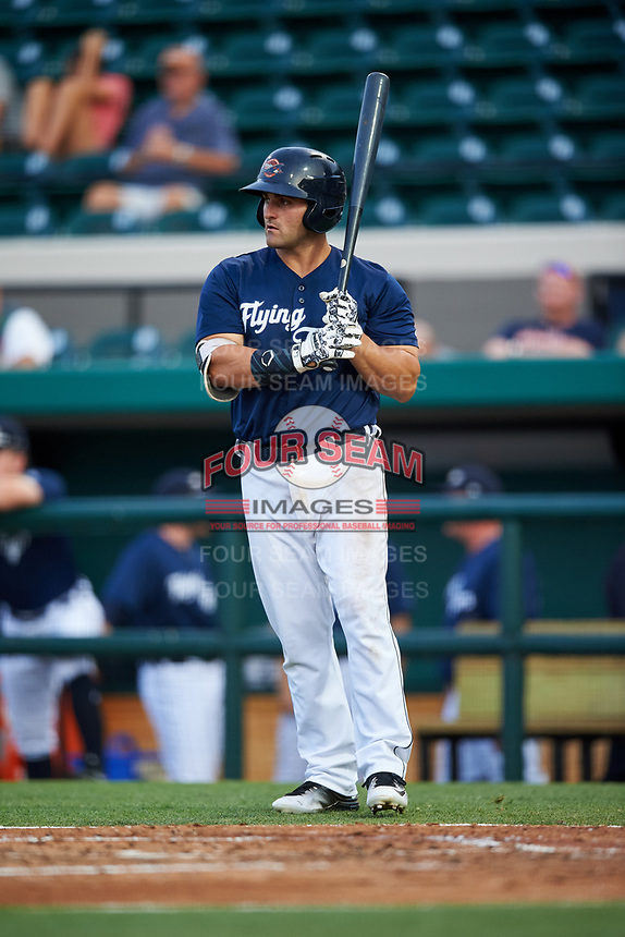 Lakeland Flying Tigers first baseman Wade Hinkle (46) at bat during a game against the Jupiter Hammerheads on April 17, 2017 at Joker Marchant Stadium in Lakeland, Florida.  Lakeland defeated Jupiter 5-1.  (Mike Janes/Four Seam Images)