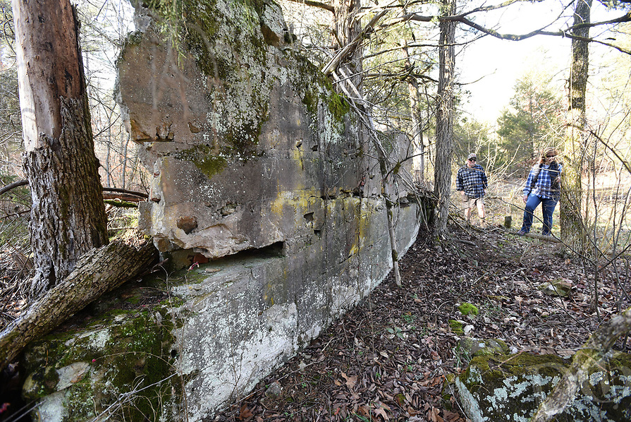 NWA Democrat-Gazette/FLIP PUTTHOFF <br /> Concrete remnants of some type of structure are seen Jan. 18 2019 at the Madison County Wildlife Management Area.