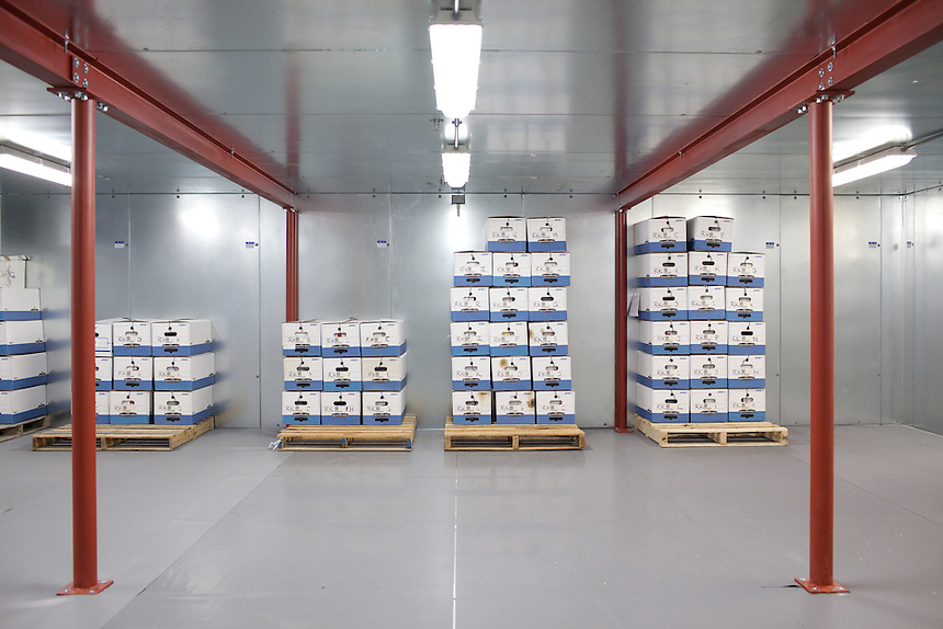 Biological evidence is held in cold storage by the Austin Police Department in Austin, Texas.