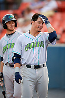Lynchburg Hillcats left fielder Mitch Longo (10) before the second game of a doubleheader against the Frederick Keys on June 12, 2018 at Nymeo Field at Harry Grove Stadium in Frederick, Maryland.  Frederick defeated Lynchburg 8-1.  (Mike Janes/Four Seam Images)