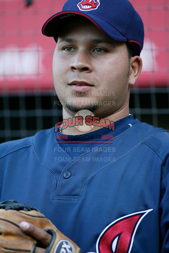 Jhonny Peralta of the Cleveland Indians during batting practice before a game from the 2007 season at Angel Stadium in Anaheim, California. (Larry Goren/Four Seam Images)