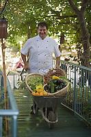 """Asie/Israël/Galilée/Rosh Pina/Safed: Chaim Tibi chef du restaurant """"Muscat """" de l'Hotel Restaurant """"Mizpe Hayamim"""" revient de la ferme du domaine avec des légumes bio -Hotel créé par le docteur Yaros Yaroshlavsky dans les années 60"""