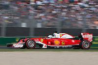 March 20, 2016: Sebastian Vettel (DEU) #5 from the Scuderia Ferrari team at turn two of the 2016 Australian Formula One Grand Prix at Albert Park, Melbourne, Australia. Photo Sydney Low