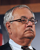 Washington, DC - November 20, 2008 -- United States Representative Barney Frank (Democrat of Massachusetts), Chairman of the House Financial Services Committee, makes remarks with other Democratic Leaders as they conduct a press conference in the United States Capitol on the fate of a proposed 25 billion dollar bail-out of the American Automotive Industry in Washington, D.C. on Thursday, November 20, 2008.  The leaders demanded the Big Three automakers, General Motors, Ford, and Chrysler, develop a plan assuring the money would make them economically viable before approving federal aid..Credit: Ron Sachs / CNP