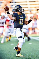 Baltimore, MD - OCT 14, 2017: Towson Tigers quarterback Triston Harris (12) trhows the ball during game between Towson and Richmond at Johnny Unitas Stadium in Baltimore, MD. The Spiders defeated the Tigers 23-3. (Photo by Phil Peters/Media Images International)