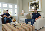 Cardiff Blues, Wales and British and Irish Lions player Alex Cuthbert and Cardiff Blues Rhys Williams look around the New houses <br /> <br /> Redrow Homes Official opening of  at Belle View at Mon Bank Newport with Cardiff Blues Players Alex Cuthbert and Rhys Williams - Newport <br /> <br /> &copy; www.sportingwales.com- PLEASE CREDIT IAN COOK