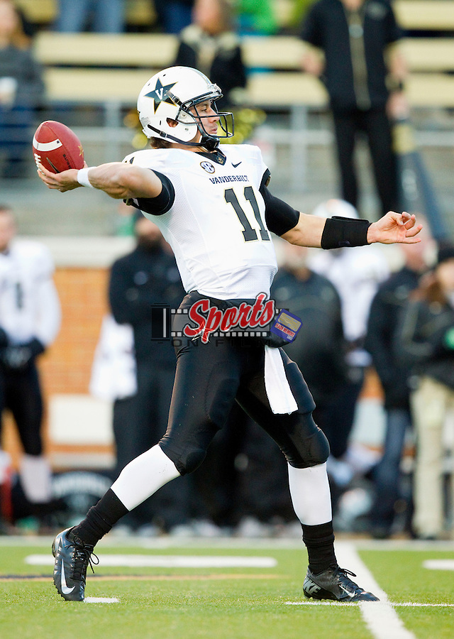 Vanderbilt Commodores quarterback Jordan Rodgers (11) passes the ball against the Wake Forest Demon Deacons at BB&T Field on November 24, 2012 in Winston-Salem, North Carolina.  The Commodores defeated the Demon Deacons 55-21.  (Brian Westerholt/Sports On Film)
