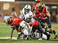College Park, MD - November 25, 2017: Penn State Nittany Lions running back Miles Sanders (24) runs the ball during game between Penn St and Maryland at  Capital One Field at Maryland Stadium in College Park, MD.  (Photo by Elliott Brown/Media Images International)