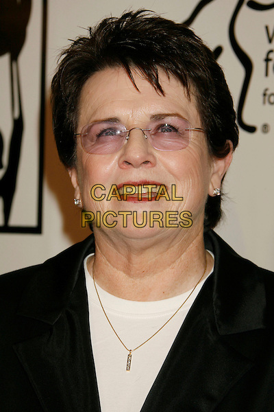 "BILLIE JEAN KING.Women's Sports Foundation Presents ""The Billies"" Gala held at the Beverly Hilton, Beverly Hills, California, USA..April 11th, 2007 .headshot portrait glasses tinted red lipstick .CAP/ADM/RE.©Russ Elliot/AdMedia/Capital Pictures"