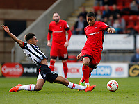 Leyton Orient's Josh Koroma evades Grimsby Town's Brandon Comley during the Sky Bet League 2 match between Leyton Orient and Grimsby Town at the Matchroom Stadium, London, England on 11 March 2017. Photo by Carlton Myrie / PRiME Media Images.