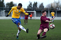 Jordan Sanderson of Woodford and Jason Brown of Leyton Athletic  during Leyton Athletic vs Woodford Town, Essex Senior League Football at Wadham Lodge Sports Ground on 1st December 2018
