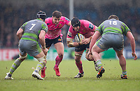 Exeter Cheifs' Mitch Lees in action during todays match<br /> <br /> Photographer Bob Bradford/CameraSport<br /> <br /> Anglo Welsh Cup Semi Final - Exeter Chiefs v Newcastle Falcons - Sunday 11th March 2018 - Sandy Park - Exeter<br /> <br /> World Copyright &copy; 2018 CameraSport. All rights reserved. 43 Linden Ave. Countesthorpe. Leicester. England. LE8 5PG - Tel: +44 (0) 116 277 4147 - admin@camerasport.com - www.camerasport.com