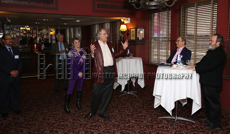 Luis Falcon, Dave Earl, Bonnie Comley, Stewart F. Lane, Ehud Laska and Dan Conley attend the UMass Lowel Cockail Party for 'Sunset Boulevard' hosted by Chancellor Jacquie Moloney, Bonnie Comley and Stewart F. Lane at Sardi's on April 5, 2017 in New York City