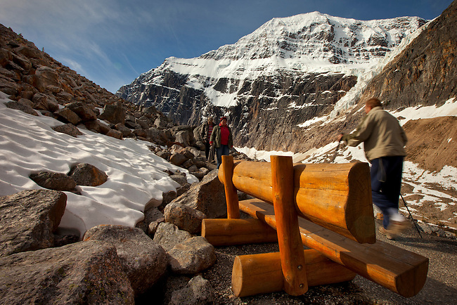 Visitors hike along the trail that leads to the base of Mount Edith Cavell in Jasper National Park, Alberta, Canada. Angel Glacier can be seen in the background.  Photo by Gus Curtis.