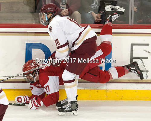 Dante Fabbro (BU - 17), Colin White (BC - 18) - The visiting Boston University Terriers defeated the Boston College Eagles 3-0 on Monday, January 16, 2017, at Kelley Rink in Conte Forum in Chestnut Hill, Massachusetts.