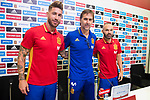 Sergio Ramos (L), coach Julen Lopetegui (C) and Andres Iniesta (R) during press conference in the city of football of Las Rozas in Madrid, Spain September 01, 2017. (ALTERPHOTOS/Borja B.Hojas)