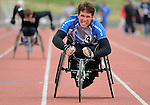 May 17, 2011 Colorado Springs, CO.   Air Force athlete, Jason Morgan competes in the 100 meter wheelchair competition during the 2011 Warrior Games at the U.S. Olympic Training Center, Colorado Springs, CO...