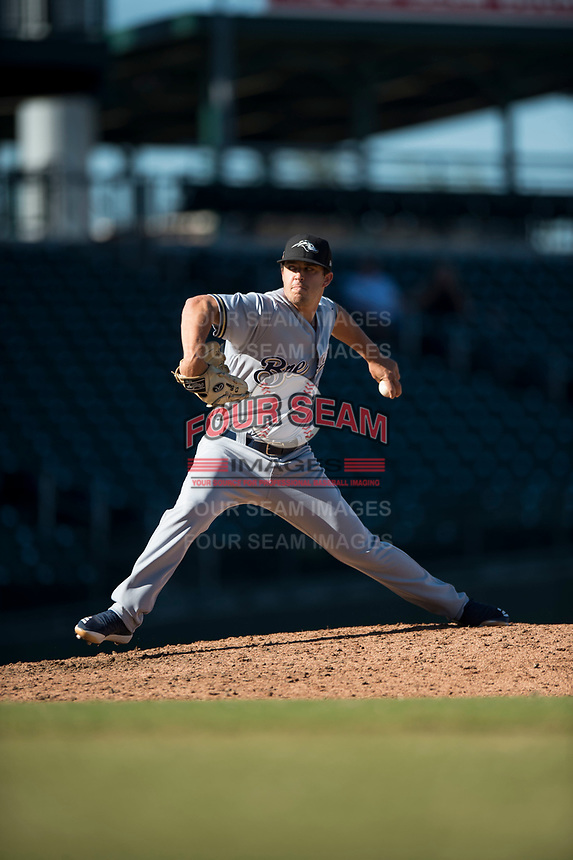 Peoria Javelinas relief pitcher Daniel Brown (49), of the Milwaukee Brewers organization, delivers a pitch during an Arizona Fall League game against the Mesa Solar Sox at Sloan Park on November 6, 2018 in Mesa, Arizona. Mesa defeated Peoria 7-5 . (Zachary Lucy/Four Seam Images)