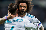 Marcelo Vieira Da Silva of Real Madrid celebrates with teammate Sergio Ramos during the UEFA Champions League 2017-18 Round of 16 (1st leg) match between Real Madrid vs Paris Saint Germain at Estadio Santiago Bernabeu on February 14 2018 in Madrid, Spain. Photo by Diego Souto / Power Sport Images