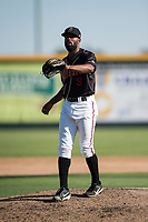 Modesto Nuts starting pitcher Reggie McClain (9) during a California League game against the San Jose Giants at John Thurman Field on May 9, 2018 in Modesto, California. San Jose defeated Modesto 9-5. (Zachary Lucy/Four Seam Images)
