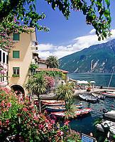 Italy, Lombardia, Lake Garda, Limone: popular resort, harbour