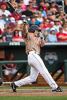 Joe McCarthy (31) of the Virginia Cavaliers bats during a game between the Virginia Cavaliers and Arkansas Razorbacks at TD Ameritrade Park on June 13, 2015 in Omaha, Nebraska. (Brace Hemmelgarn/Four Seam Images)